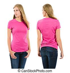 rose hemd, langharige, vrouwlijk, leeg