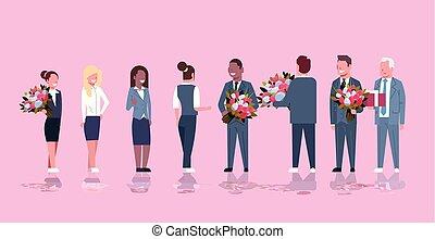rose, heureux, concept, mars, fond, womens, donner, hommes, féliciter, femmes affaires, mélange, longueur, entiers, hommes affaires, course, 8, horizontal, fleurs, jour, femmes