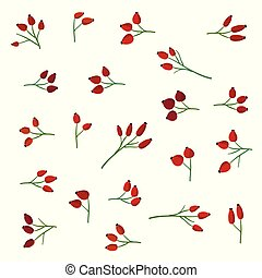 Rose hip branches set - Set of rose hip branches - vector ...