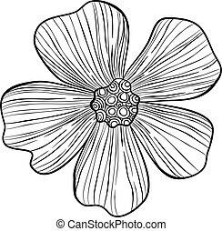 Rose hip flower icon, hand drawn style - Rose hip flower ...