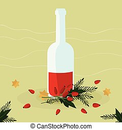Rose hip liqueur - vector illustration