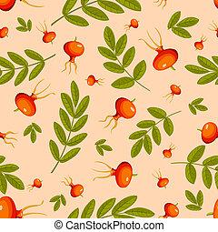 Rose hip seamless beige pattern. Vector background.