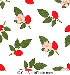 Rose hip. Seamless Vector Patterns