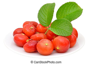 Rose hips on a plate