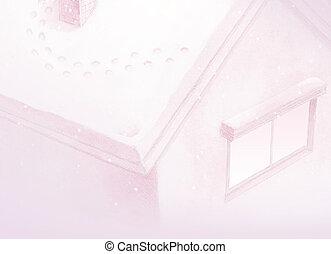 rose, hiver, maison, conte, fond, fée, peinture