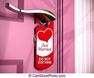 rose, honeymoon., concept, poignée, juste, porte, mariés, métal, cintre, écrit, pendu, chambre à coucher, porte, sur, rouges