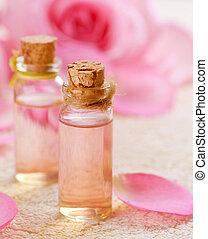 rose, huile, aromatherapy., essentiel, spa
