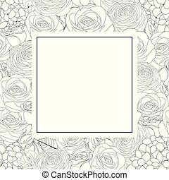 Rose, Hydrangea and Ranunculus Outline Banner Card