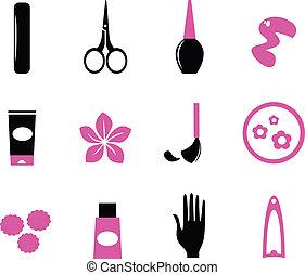 rose, &, ), (, icônes, isolé, noir, manucure, sauvage, blanc