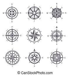 rose, icônes, vendange, héraldique, ou, compas, vieux, vent