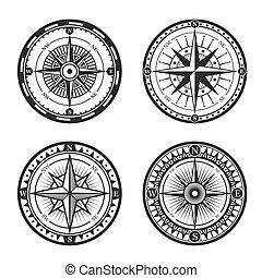 rose, icônes, vendange, nautique, compas, vent