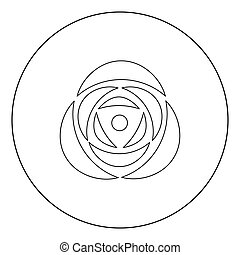 Rose icon black color in circle