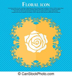 rose icon. Floral flat design on a blue abstract background with place for your text. Vector