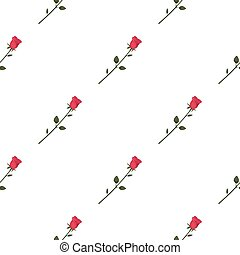 Rose icon in cartoon style isolated on white background. Romantic pattern stock vector illustration.
