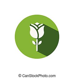 Rose. Icon on a green circle. Flower vector illustration