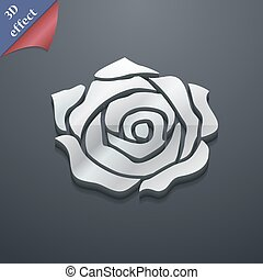 rose icon symbol. 3D style. Trendy, modern design with space for your text Vector
