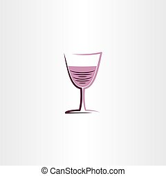 rose, illustration, stylisé, verre, vecteur, icône, vin