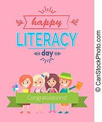 rose, illustration, vecteur, heureux, jour, alphabétisation