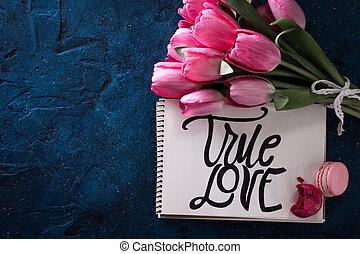 rose, inscription, amour, bouquet, paper., tulipe, fleurs fraîches, vrai