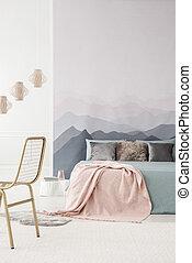 rose, intérieur, confortable, chambre à coucher