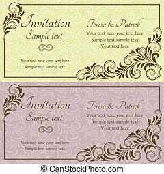 rose, invitation, baroque, jaune, mariage