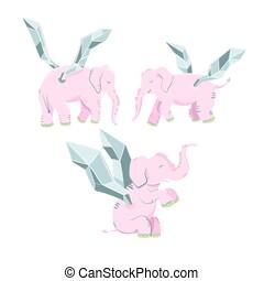 rose, isolé, arrière-plan., éléphant, blanc, ailes
