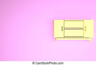 rose, isolé, arrière-plan., icône, minimalisme, 3d, illustration, render, jaune, stand, table, tv, concept.