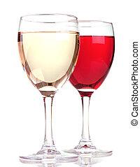 rose, isolé, fond, blanc, lunettes, vin