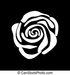 rose isolated logo icon. white silhouette. Vector