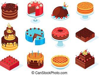rose, isométrique, ensemble, glaçage, isolé, anniversaire, tarte, coupé, gâteau, vecteur, savoureux, délicieux, couper, chocolat, cakes., 3d