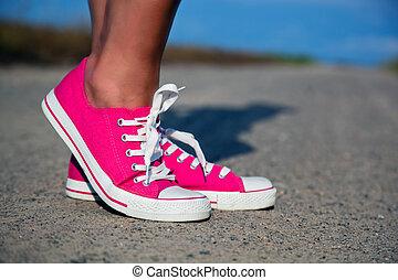 rose, jambes, femme, espadrilles, girl