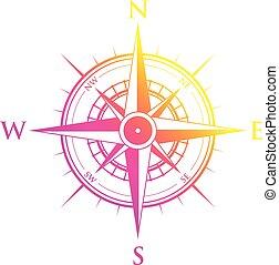 rose, jaune, compas