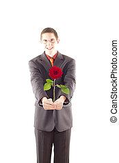 rose, jeune homme