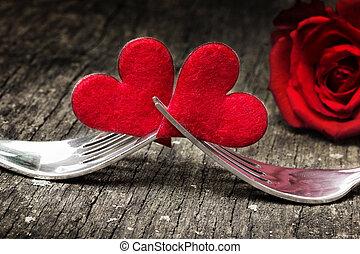rose, jour, petite amie, coeur, fourchettes