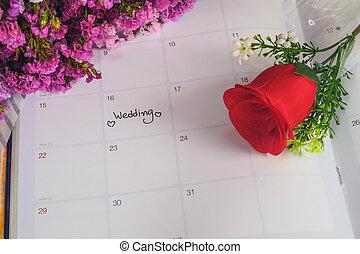 rose., jour, planification, mariage, calendrier, rappel, rouges