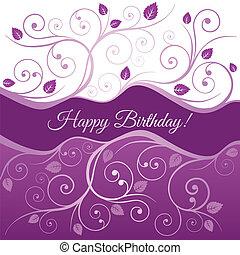 rose, joyeux anniversaire, carte, et, tourbillons