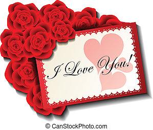 rose, karte, rotes , valentine