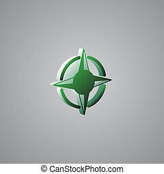 rose, kompaß, 3d, grün, abbildung