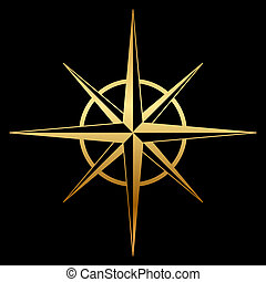 rose, kompaß, vektor, gold, ikone