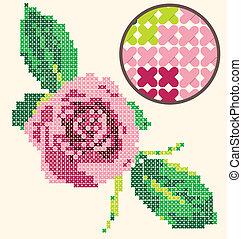 rose, kreuz, stickerei, stich