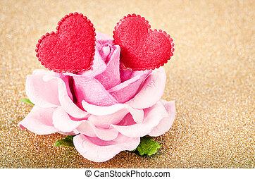 rose kwam op, heart., twee, rood