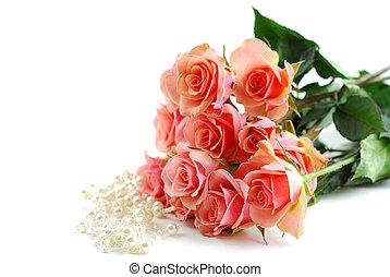rose kwam op, parels