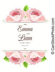 rose kwam op, trouwfeest, rood, uitnodiging, bloemen, kaart