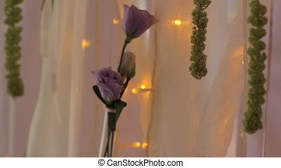 rose, lampe, fleur, fond, guirlande