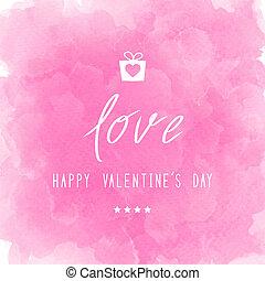 rose, lettrage, valentin, aquarelle,  s, jour, heureux