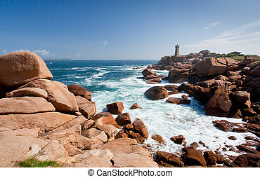 rose lighthouse on Pink Granite Coast in France - lighthouse...