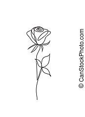 rose line icon - rose one line art. Flower vector logo