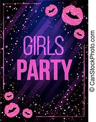rose, lips., nuit, filles, illustration, vecteur, affiche, fête, briller