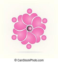 rose, logo, fleur, collaboration