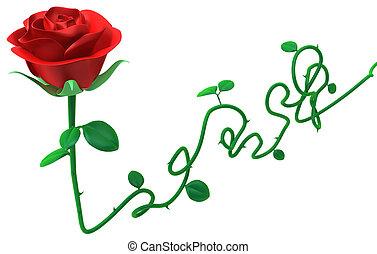 Rose Long Stem - Red rose long stem object isolated, 3d...